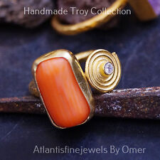 GENUINE CORAL RING BY OMER ANCIENT ROMAN ART 24K GOLD OVER STERLING SILVER