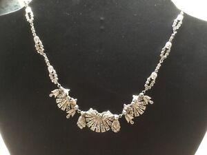 Vintage 1950s Deco Marcasite Necklace