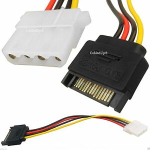 Sata 15CM 4 Pin Molex Female To 15 Pin Male Power Adapter Cable Hard Disk Drive
