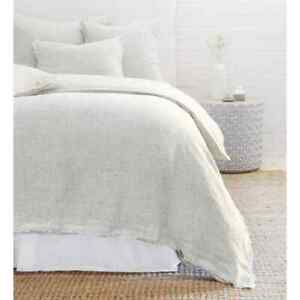 Pom Pom At Home Logan Olive Striped Raw Frayed Edges Queen Duvet Cover Linen