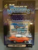 Muscle Machines 1957 '57 Chevy with Blower Orange Die Cast 1:64 Scale 01-74