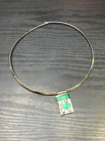 Vintage Fused Art Glass Pendant Necklace  Green Gold Silver Wire Collar