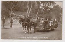 Kent postcard - 5 Miles by Sea, Sandgate, Seabrook & Hythe - Horse Pulled Tram