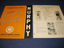 Murphy Elevator & Capital Elevator Mfg 1947 Catalog 2 Lot