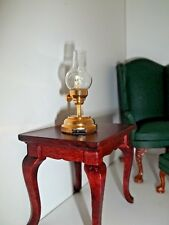 BRASS HURRICANE  LAMP - LED BATTERY OPERATED  - DOLL HOUSE MINIATURE