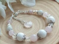 FERTILITY & PREGNANCY, CRYSTAL HEALING GEMSTONE BRACELET, Moonstone,Rose Quartz