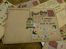 40 x vintage postcard style Wedding Guest Book or Wish Tree tags