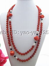 "N130711 Beautiful 49"" Coral&Carnelian&Onyx Necklace"