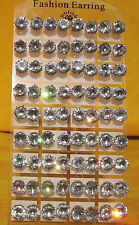 New Lots 36Pairs 10mm Clear Round Cubic Zirconia Stud Earrings