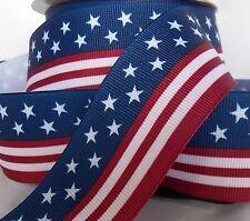 """Lot 6-YDS 1.5"""" Red,White,Blue.Grosgrain Ribbon Stars&Stripes FLAG"""