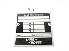 Land Rover Blanco VIN Matrícula 78.5mm 84mm