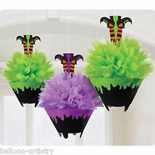 3 Spooky Halloween Verde Y Morado Fluffy papel Bruja Colgante Decoraciones