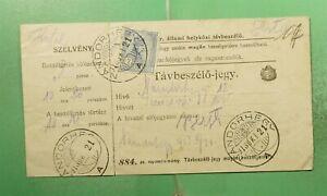 DR WHO 1913 HUNGARY NANDORHEGY DOCUMENT RECEIPT? WITH REVENUE  g17144