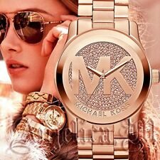 Original Michael Kors Uhr Damenuhr MK5661 Runway XL Farbe:Rose Gold/Kristall NEU