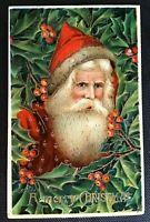 Beautiful ~Santa Claus with Holly~Gel Embossed ~Antique Christmas Postcard--s593