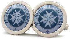 St John Ambulance Chrome Silver Colour Metal Cufflinks Saint Johns