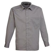 Premier Easycare Poplin Shirt Mens Long Sleeved Polycotton Formal Collar Pr200 Dark Grey 18