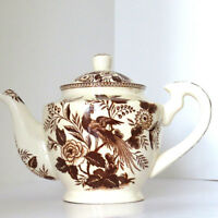 Transferware Teapot Brown White Floral Peacock Vintage Transfer Ware Collectible