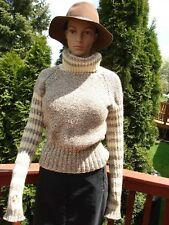 Ivory/beige/ brown tweed Hand Knitted 100% wool high turtle neck sweater S/M NEW