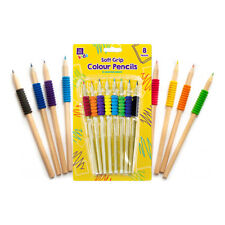 8 x Soft Grip Wooden Colouring Pencils - Kids Back To School Colouring Set GEM