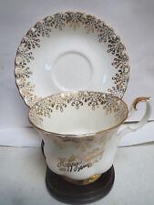 Royal Albert - Happy Birthday - Montrose Shape Teacup and Saucer-Gold Filigree