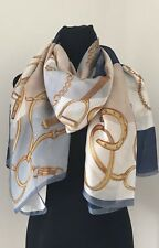 Designer Inspired Scarf Beach Wrap SILK Chains Gold Navy White Cool Long NEW