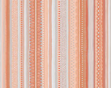 Papier Tapete AS OILILY HOME 96127-1 Längs-Streifen mit Muster Orange Weiß Grau