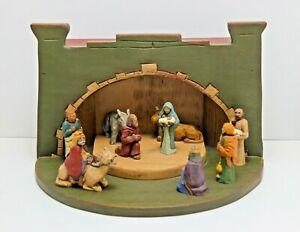 Vintage 1987 Wolf Creek Woodworking Folk Art Nativity Set