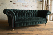 MODERN HANDMADE 3 SEATER DEEP EMERALD GREEN VELVET CHESTERFIELD SOFA