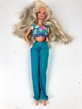 Barbie Doll Blonde Hair Flower Shirt Jeans & Pink High Heel Boots 1998 Mattel