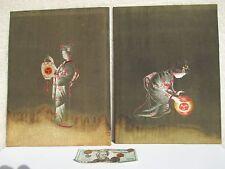 Vintage Set of 2 Japanese Silk Thread Portraits-Artistic Embroidery!