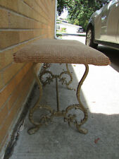 Antique Fireplace Bench Cast Iron Legs Stool Seat Vanity Piano Bench