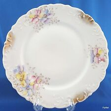 Dresden Floral Salad Plate White Porcelain Blue and Pink Flowers Gold 7-3/4""