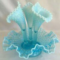 Antique FENTON Sea Blue Hobnail Opalescent 3 Horn Glass Epergne Flower Vase Urn