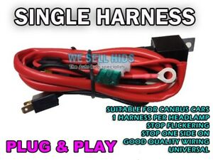 Xenon HID Kit Wire Relay Harness H7 H1 H3 40 AMP SINGLE HARNESS FLASHING FLICKER
