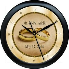 Personalized Gold Wedding Ring Wall Clock Bride Groom Marriage Gift