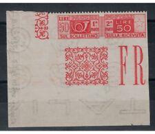 ITALIA REPUBBLICA 1946 Varietà 50₤ pacchi postali dent. solo in alto MNH**