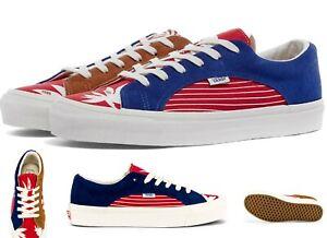 VANS VAULT UA OG LAMPIN LX TRUE BLUE & RACING RED, Suede/ Canvas trainer Shoes