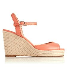 L.K. Bennett SEVE LEATHER ESPADRILLE WEDGES Sandals Sz 38.5 NWOB 345 peach