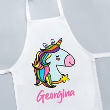 Personalised Unicorn Multi Coloured Hair Cute Girls Kids Childrens Apron