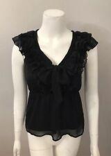 H&M Black Chiffon Ruffle Lace Trim Bow Front Sleeveless Top Size 4
