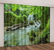 3D Green Jungle Trees Waterfall Scenery Window Curtains Blockout Drapes Fabric