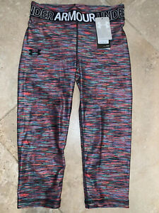 NWT Girls Youth Under Armour HeatGear Printed Capri Leggings 1305645 Lg