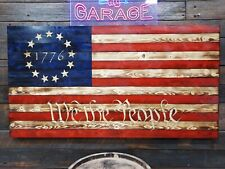"48""x 26"" Handmade Wood American Flag Betsy Ross We The People 1776 13 Stars"