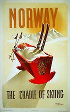 Norway Vintage Ski Travel Advertising Poster Canvas Print 20x32