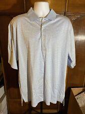 Fairway & Greene Logo Golf/Polo Shirt XL Light Blue & White Striped Cotton Blend