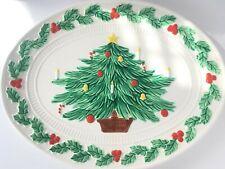 "Christmas Tree Ceramic Platter Tray Large Oval Winter Holly Leaves Rim 18"" Vtg"