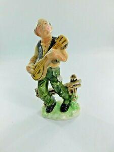 Vintage Rossini Old Man Playing Banjo Music Singing Figurine Folk Art-Japan