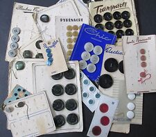 Vintage Lot French Buttons On Cards & Partial Cards French Flea Market Find