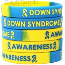 5 Down Syndrome Awareness Bracelets - Debossed Color Filled Silicone Wristbands